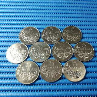 10X 1984 Singapore 25 Years of Nation Building $5 Cupro-Nickel Commemorative Coin ( Lot of 10 Pieces )