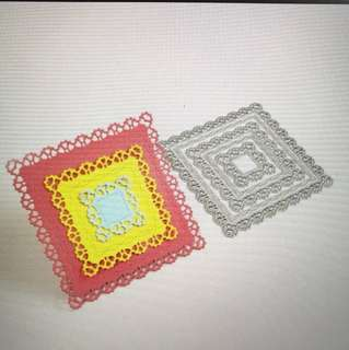 Lace wonky lines square frames scrapbooking Cutting Dies 5pc set