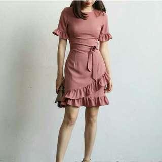 BNWT Dusty Pink Ruffled Dress