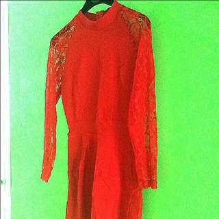 Red Lace Dress mesh Chinese new year