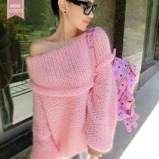 粉紅色露肩冷衫