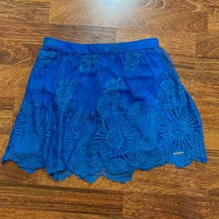 Abercrombie & Fitch Lace Blue Mini Skirt