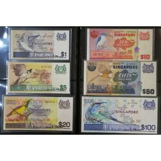 Singapore Bird Series Dollar Notes, $100, $50, $20, $10, $5, $1