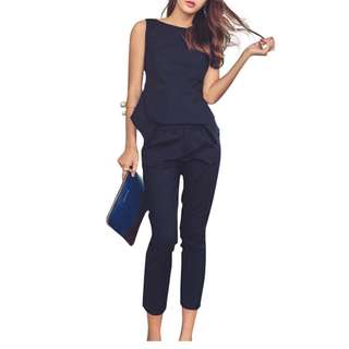 2 pc Asymmetrical Vest and Capri Pants Set