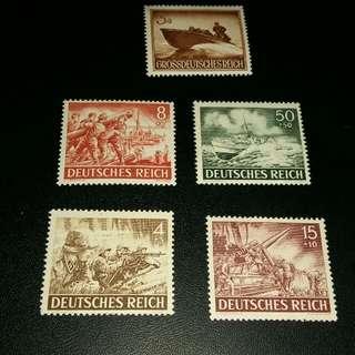 1943&1944 德国郵票x5