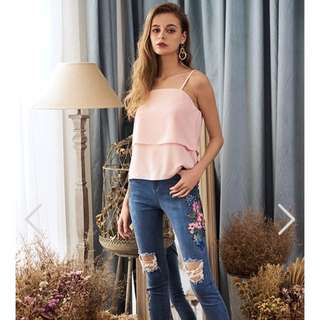TCL EMELIA LAYERED TOP IN PINK