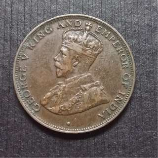 1933 (British) Hong Kong King George V Bronze 1 Cents 香港 佐治五世 銅幤 一仙