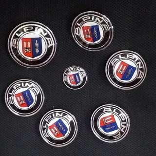 🚚 寶馬 經典 ALPINA BMW 7件套組 前後標含底座 輪圈中心蓋貼紙含底座 方向盤貼 標誌 貼標 卡夢E30