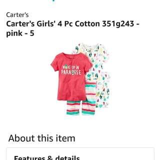 [FreeMail] Carters Girls 4pcs Cotton PJ Set (5T) $21