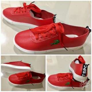 004 LACOSTE BLACK/RED SHOES size 35-36-37-38