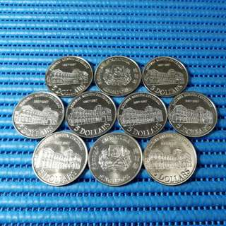 10X 1987 Singapore Centenary of the National Museum $5 Cupro-Nickel Commemorative Coin ( Lot of 10 Pieces )