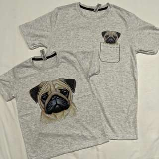 Pocket animal t shirt: family set (pug)