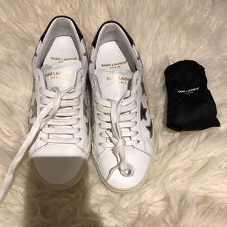 Saint Laurent Signature California Sneakers White & Silver (35.5)