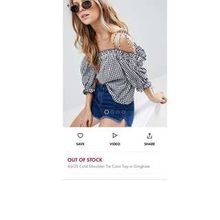 Asos off shoulder gingham top