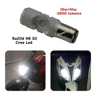 Ba20d Motorcycle Cree Headlight Bulb White 6.5k  Suitable For Vespa Scooter   ★100% Genuine SL Product     With Original Box   ★10w+10w L Beam 2800 Lm  ★10w+10w H Beam 2800 Lm  ★2 Sided L12 Cree Led x 4 ★Plug & Play  ★Ultra Bright Guaranteed    In Stock