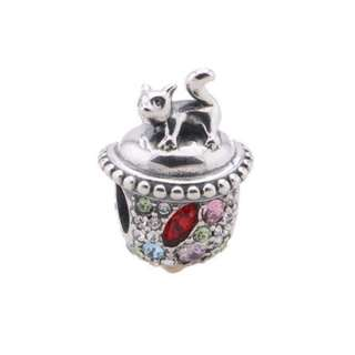 Code MS49 - Squirrel On Top 100% 925 Sterling Silver Charm, Chain Is Not Included, Compatible With Pandora