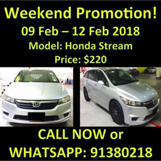 Honda Stream 9-12Feb SALE/OFFER WEEKEND