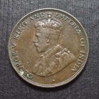 1934 Hong Kong (British) King George V Bronze 1 Cents 香港 佐治五世 銅幤 一仙