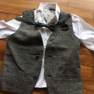 formal suit for boys 2pc set with bow
