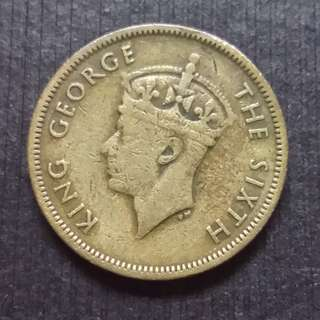 1948 Hong Kong (British) King George VI Nickel Brass 10 Cents 香港 佐治六世 銅鎳幤 一毫