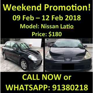 Nissan Latio 9-12 Feb OFFER/SALE WEEKEND