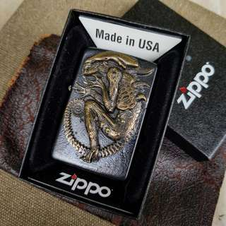 Custom Made Brass Alien on Original Zippo lighter
