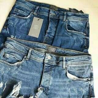 Zara Man Ripped Jeans Skinny Authentic celana pria  panjang