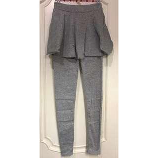 灰色假兩件棉質裙褲 Grey cotton trousers pants