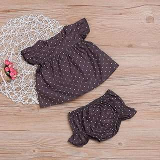 ✔️STOCK - 2pc DARK GREY POLKA RUFFLED TOP & BLOOMER SHORTS SET NEWBORN BABY TODDLER GIRL CASUAL KIDS CHILDREN CLOTHING