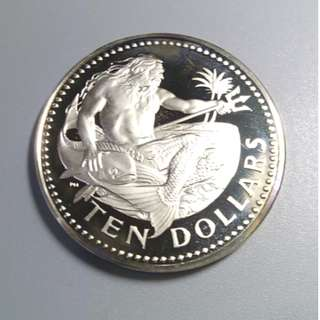1973年 巴巴多斯 10元銀幣