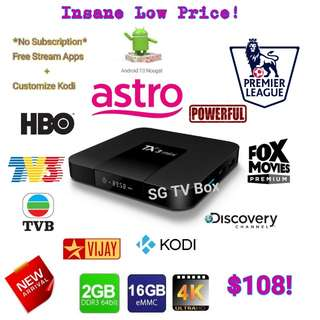 Latest and Cheapest 2GB RAM 16GB ROM Nougat TX3 Mini Android Box ( IPTV / ASTRO / Malaysia Channels / TV3 / Malay / TVB / MYIPTV / MoonTV / RIA / worldwide channels)