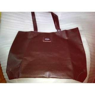 雜誌袋 《MonoMax - 2016年 1月號》BEAMS棕色皮革特大Big Tote Bag