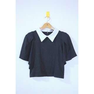 Black collar crop top