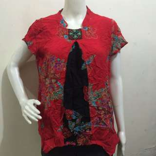 Plus size red printed chinese collar blouse xl