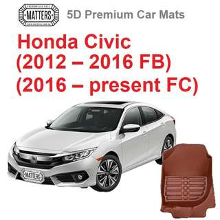 MATTERS 5D Premium PU Leather Car Mats For Honda Civic: (2012 - 2016 FB and 2016 - Present FC) Qoo10 Official Store