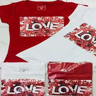 Love tshirt with sizes