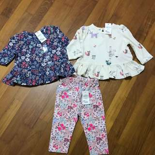 Brand New Baby Gap Girl Tops & Leggings