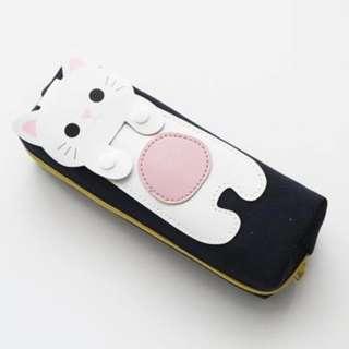 White cat pencil case- Binow Australia