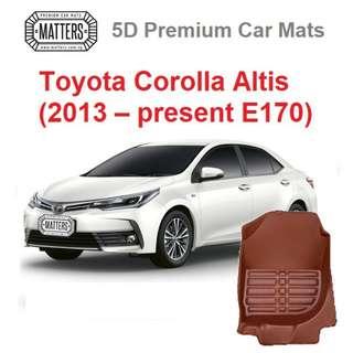 MATTERS 5D Premium PU Leather Car Mats For Toyota Corolla Altis: (2013 – present E170)