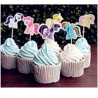 12pcs My Little Pony Cupcake Toppers Muffin Cake Topper Decoration Baking Picks Birthday Party