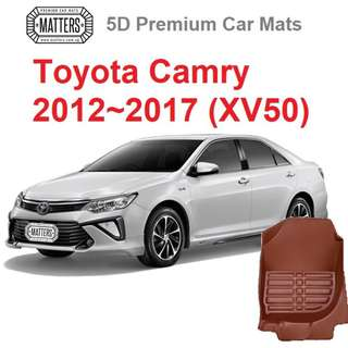 MATTERS 5D Premium PU Leather Car Mats For Toyota Camry (2012 - 2017 XV50) Qoo10 Official Store