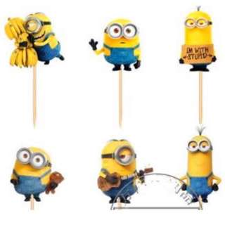 12pcs Minions Cupcake Toppers Muffin Cake Topper Decoration Baking Picks Birthday Party