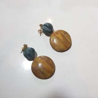 Statement wood earrings