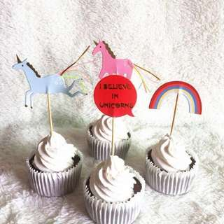 12pcs Unicorn Rainbow Cupcake Toppers Muffin Cake Topper Decoration Baking Picks Birthday Party