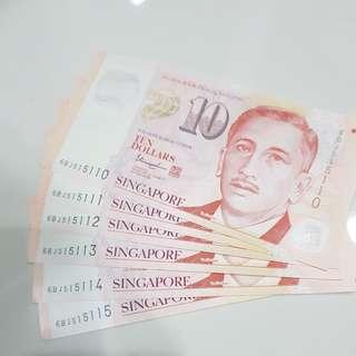 6 x sgd $10 notes
