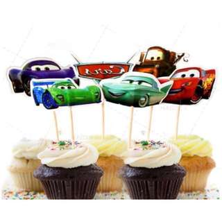 12pcs Cars McQueen Cupcake Toppers Muffin Cake Topper Decoration Baking Picks Birthday Party
