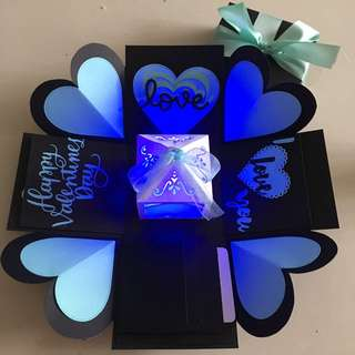 Valentine explosion box with lighthouse, 4 waterfall