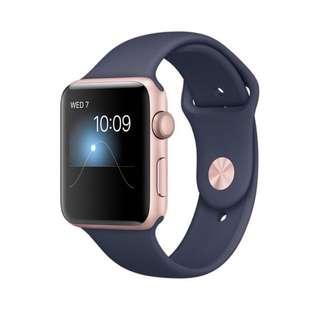 (現貨) Apple Watch Series2 42mm 玫瑰金 9.8成新 運動深藍錶帶 2017
