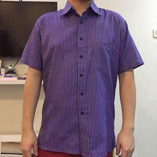 purple short sleeve  kemeja lengan pendek