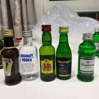 Alcohol Drinks Absolut Vodka Amarula Justerini & Brooks KWV Tanqueray 50mL Glass Plastic Bottle